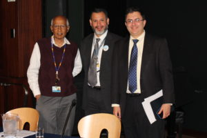 Left to Right: Mathuram Santosham, William Checkley, and Joshua Sharfstein